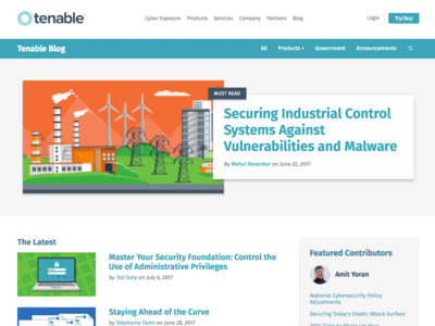 Tenable Blog Refresh Spring 2017 corporate blog blog cybersecurity security tenable