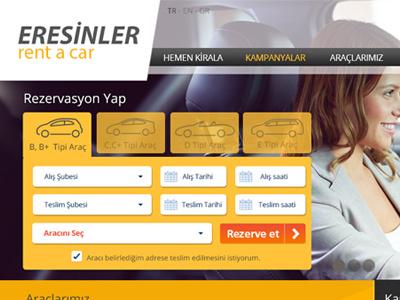 Eresinler Rent a Car creative direction uiux web design interface web car ui