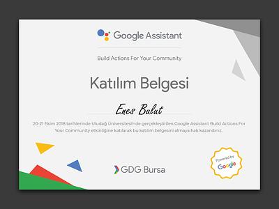 GDG Event Certificate certificate graphic flat google devfest gdg design