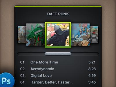 Mini Spotify – PSD 1876 mini spotify psd freebie daft punk music player 15:00 ui design manu