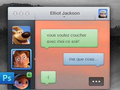 Messaging – PSD 2708 senseless chat mac app 19:45 interface design psd freebie manu