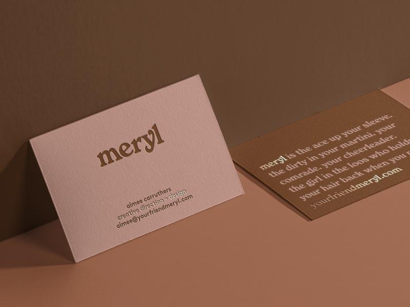 meryl logotype and business card letterpress logo branding