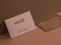meryl logotype and business card