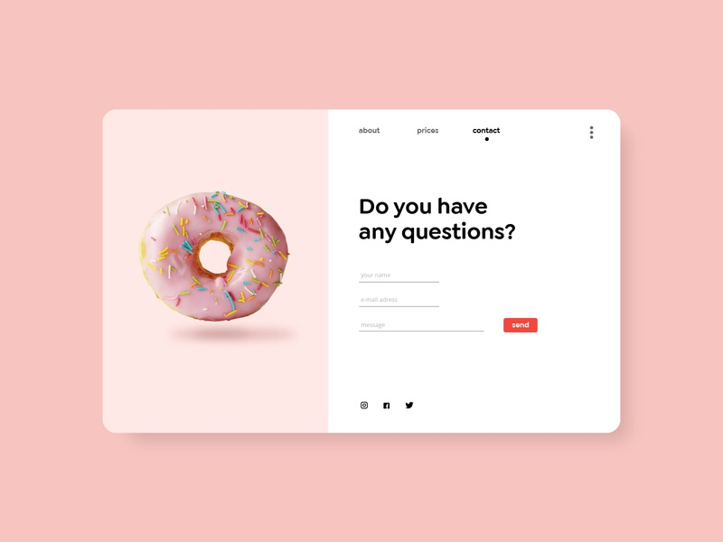 Daily UI 28 - Contact us digital product webdesign daily ui 28 daily ui challenge daily ui contact page contact form pastel pink donut one page contact us