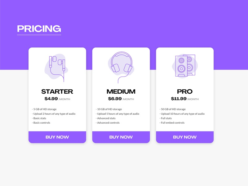 Daily UI 30 - Pricing buy call to action user interface uxui monoline lineart music earbuds headphones cards pricing dailyui 30 dailyui dailyuichallenge