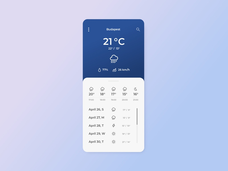Daily UI 37 - Weather temperature gradient digital prouct design daily ui 037 dailyuichallenge daily ui app design forecast weather app weather