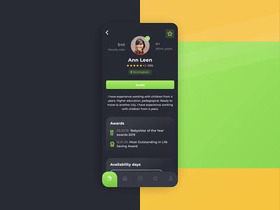 Babysitter App: Profile Screen home app design dashboard 2d application web invitation skills schedule profile animation motion interface mobile app design ux ui