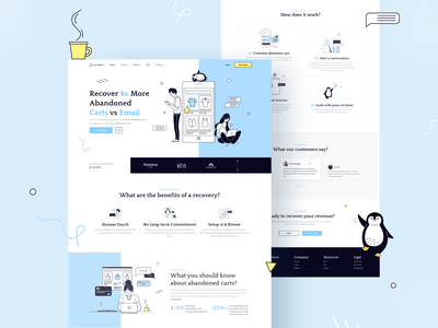 Web app for recovering abandoned carts creative illustration pattern hero modern clean home landing page webiste web interface design ux ui