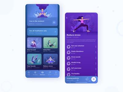 Meditation App app design vector modern profile graphic illustration clean tracker meditation sleep mobile interface app design ux ui