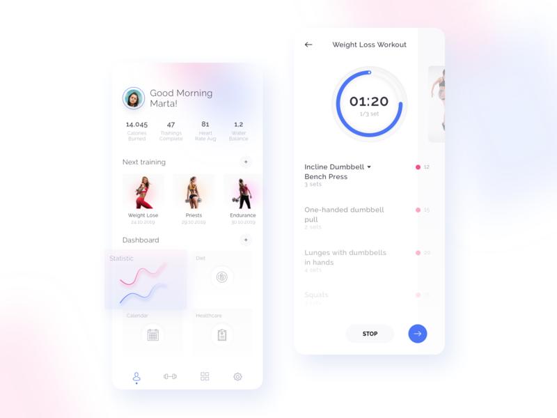Fitness App exercises timer application profile sports design fitness app mobile interface design ux ui