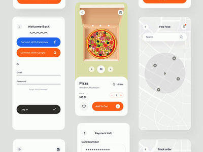 Food Delivery - Mobile App Animation mobile animation checkout page order tracking payment app home page map food illustration ui interaction ecommerce app service app restaurant app food delivery app animation mobile motion design ux ui