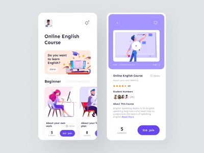 Online Course Mobile App social user experience ui interface mobile app e-learning illustration teacher student app home page online learning video online course education app mobile ux ui