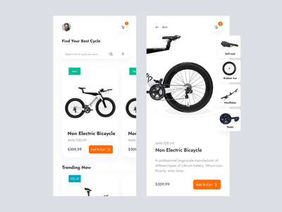 Cycle  e-commerce mobile app list page cycle store shop product page details page cart page business app ecommerce app homepage bike shop app user experience ui interface mobile ux ui