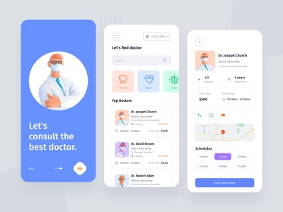 Medical Mobile App schedule onbording 3d illustrator book app details page clinic dental care icon list page home screen consulting map care doctor medical app mobile ux ui