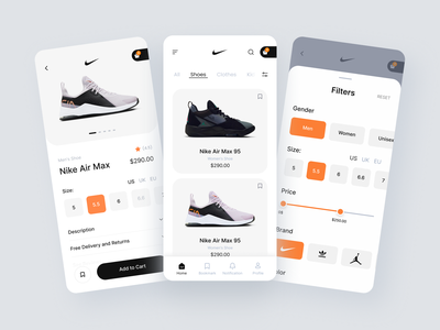Shoes App shoe app shoes app ux design ui design product add to cart e shop mobile responsive web responsive nick app details page list cart filters user experience user interface navigation bar ecommerce branding mobile