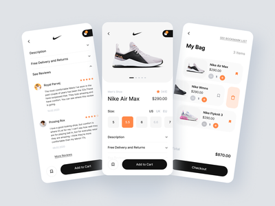Shoes App mobile responsive mobile shoes app service delivery app online store e shop cart application details reviews checkout page add to cart product nike shoes user experience user interface ecommerce ux ui