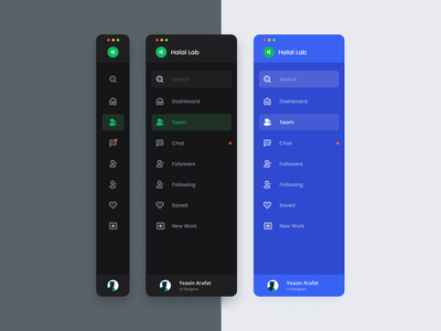 Sidebar Navigation dark ui design system dark mode profile icon illustraion side menu mobile interface dashboard tabbar dark theme web app navigation sidebar menu uiux ui