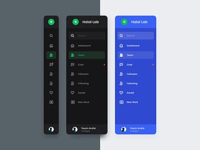 Sidebar Navigation dark ui design system dark mode profile icon illustraion side menu mobile interface dashboard tabbar dark theme web app navigation sidebar menu uiux ui