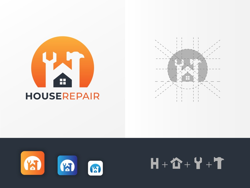 House Repair Logo concept with H letter company modern style shape business logotype labor hammer construction wash clean binding home h logo letter h logo app icon technology logo repair