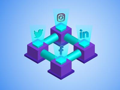 Social Media Plant Web Illustration