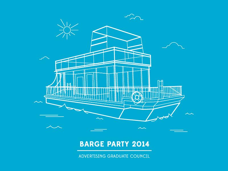 Barge Party vector illustration barge austin lake line ryan putnam thang line art shirt