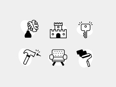 Icon Set interior iconography icon set branding mark identity renovation house furniture plant illustration icon icons