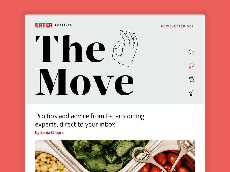 Eater newsletter typography iconography branding icons line art illustration vox media ok sign ok hand editorial food newsletter