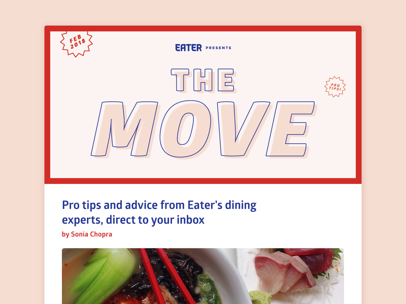 """The Move"" - Stamp of Approval logo layout stamp typography branding stamps illustration vox media editorial food newsletter"