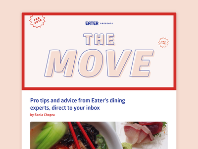 """""""The Move"""" - Stamp of Approval logo layout stamp typography branding stamps illustration vox media editorial food newsletter"""