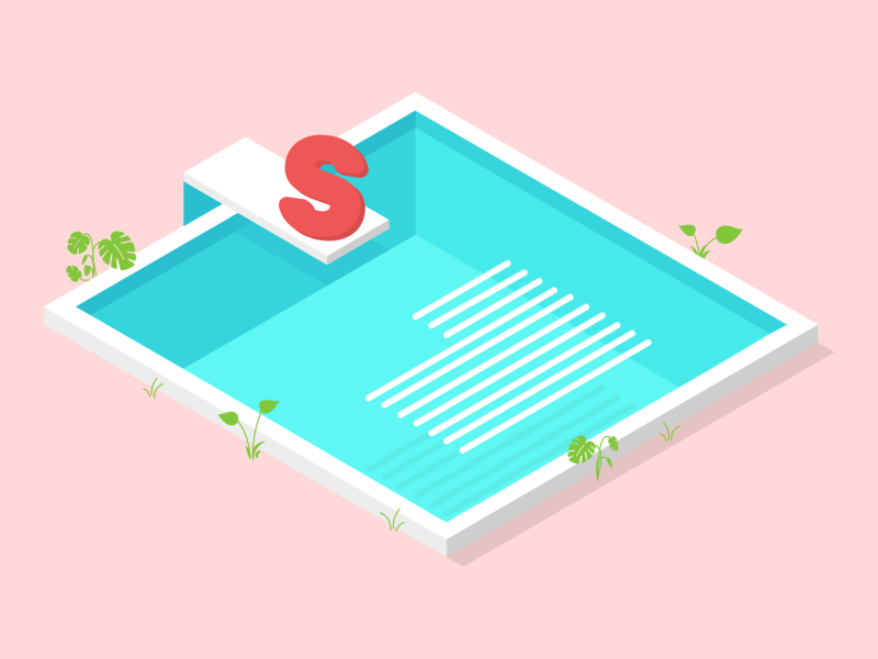 Divecap pool monstera plants editorial dropcap illustration vox media summer flat isometric design isometric