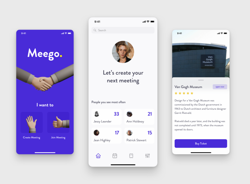 Meego - Mobile App for Meetings ecommerce agency app design ui ux ux mobile clean app 3d ilustration meeting app ios illustration interface app ui design application uiuxdesign design ui splitdevelopment splitdev