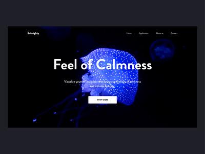 Calmighty - Promo Page app ux animation promo website dark ui meditation application landing page jellyfish motion video calmness typography interface uiuxdesign design ui splitdev splitdevelopment
