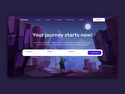 Traveland - Landing Page for Travel Service transition interaction creative web layout scroll animation video landing page web design travelling travel motion animation dark ui interface uiuxdesign design ui splitdev splitdevelopment