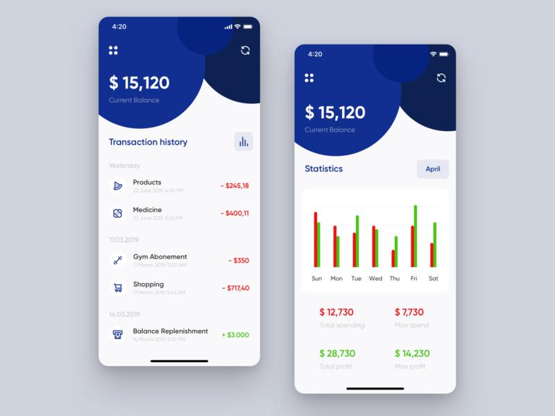 💳Banking App UI banking app payment money banking budget interface ios app ui design statistics management app balance business finance bank app finance app uiuxdesign ux ui splitdevelopment splitdev