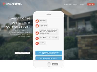 HomeSpotter Home Page estate real web desktop