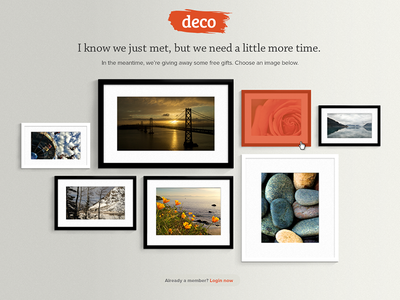 Deco Giveaway photography frame art early ux ui design website