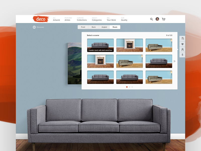Deco Room Picker artist sofa frame ux ui photography art room