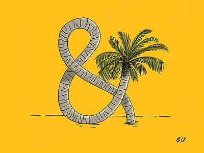 Palmpersand design ampersand sunny sunshine green plant yellow illustrator palm tree illustration