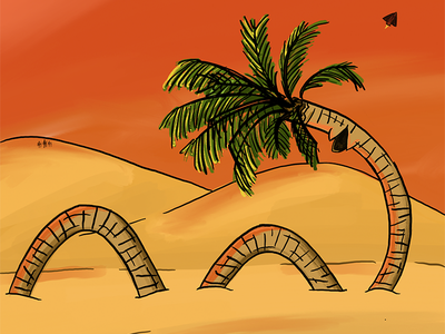 Dunetree flexible procreate desert sketch plants palm palm tree dunes illustration