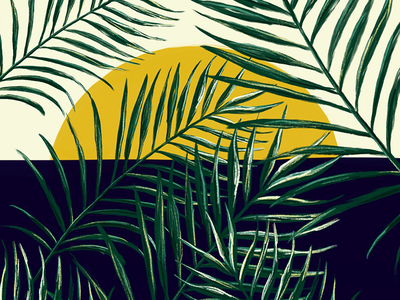 Sun Covered Leaves tropical plants sun palm trees leaves palm leaves illustration