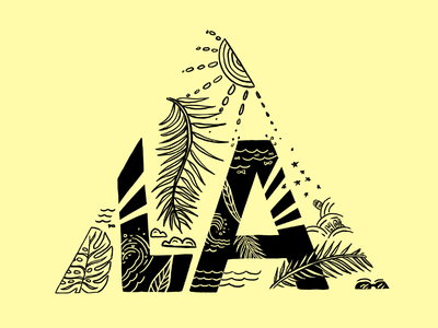 A Jungle of Good Vibes surfing palm trees los angeles la procreate illustrator palms leaves illustration