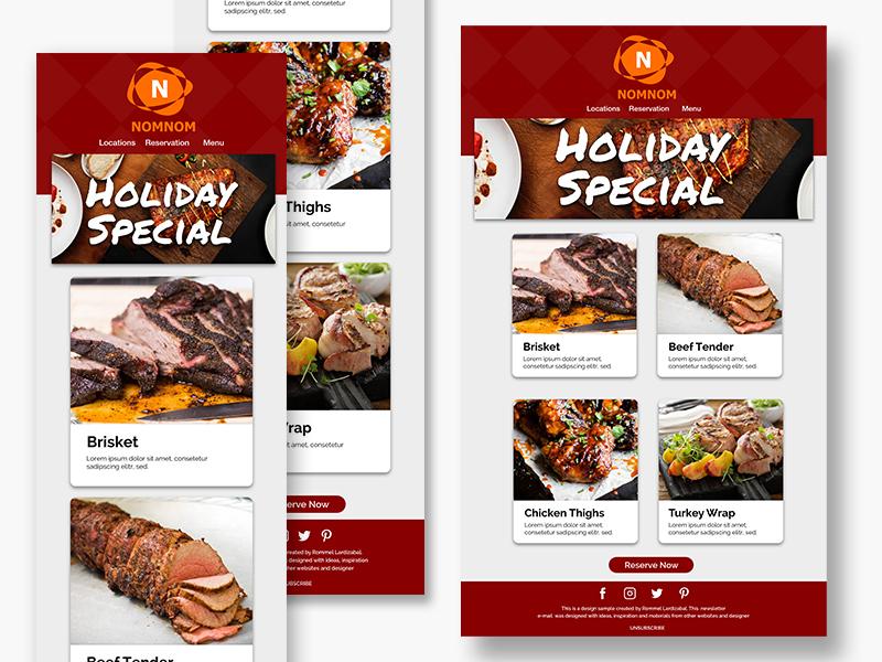 Restaurant Newsletter ui  ux design design email newsletter email newsletter design newsletter