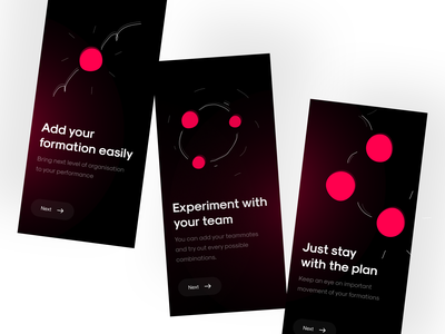 Onboarding Screens for Dance Formation App mobile app design mobile app mobile app onboarding dark onboarding dark mode dark ui dark app onboarding ui onboarding screens onboarding ui-design minimalistic