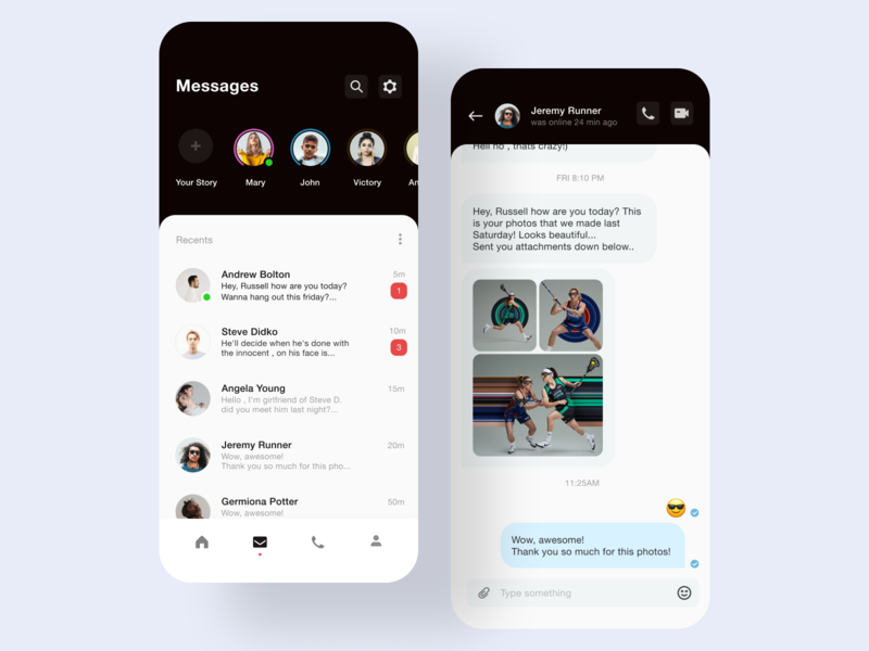 Clean UI - Chat mobile app lviv minimalistic social network social media messengers chatting app messenger app chat app cleanui social telegram messenger chatting chat ui-design