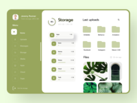 Storage Dashboard - Clean UI cuberto figma ui-design lviv dashboard template minimalistic artificial intelligence updates profile menu greenui dashboard design dashboard ui webapp web navbar files uploads storage dashboard