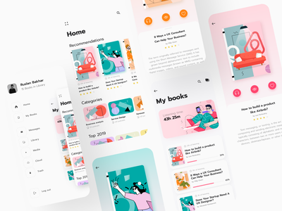 Booksapp concept audiobooks ux agency digital design agency minimalistic design navigation menu homepage illustrations product cards navigation mobile store books store ecommerce app