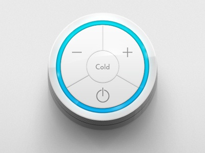 Cold something refined metal ui button control brushed blue cold plus minus on off dial knob silver