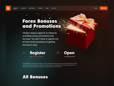 FXOpen - Bonuses and Promotions web forex ux ui design gradient figma promotions fx bonuses forex trading