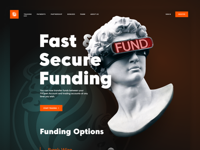 FXOpen   Funding dark ui fxopen web design brand gradient illustraion figma funding forex trading forex