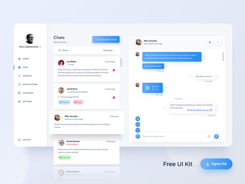 Freebie — Chat Dashboard — Figma dashboard ui chat figma vector ux flat freebie free web design ui